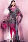 Pink and Black Churidar Salwar Kameez 2011