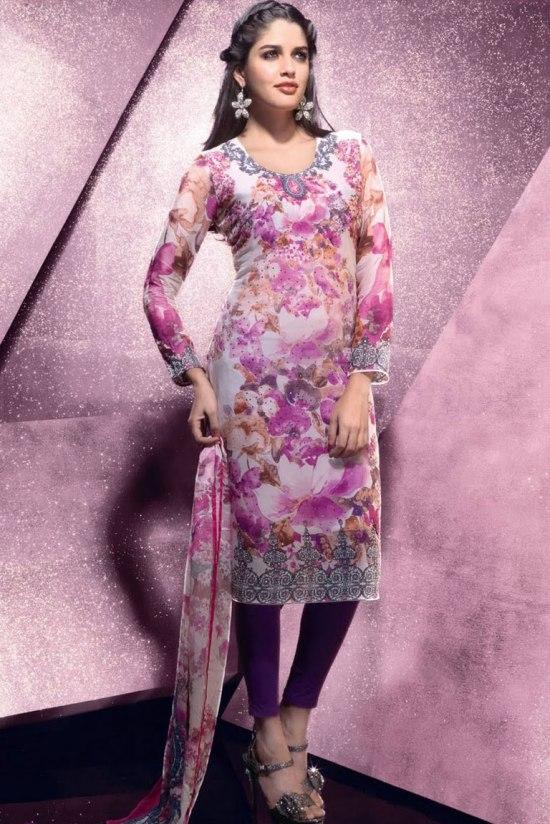 Floral Printed Churidar Salwar Kameez 2011