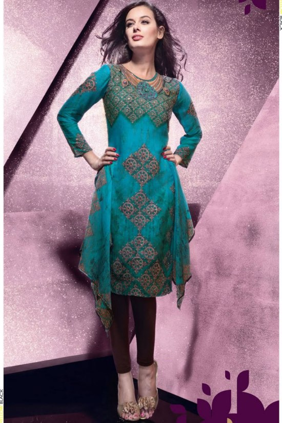 Green Churidar Salwar Kameez for Party Wear