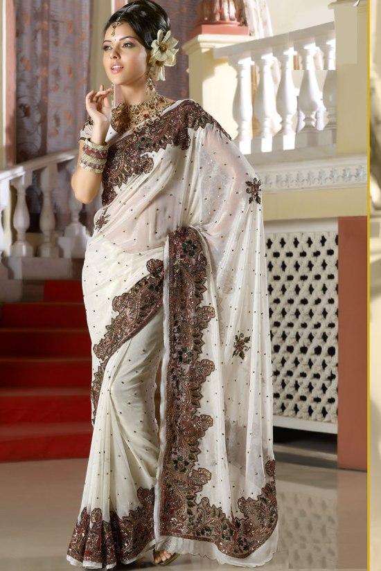 Latest White Designer Saree 2011