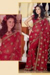 Latest Designer Saree with Half Sleeve Saree Blouse Designs