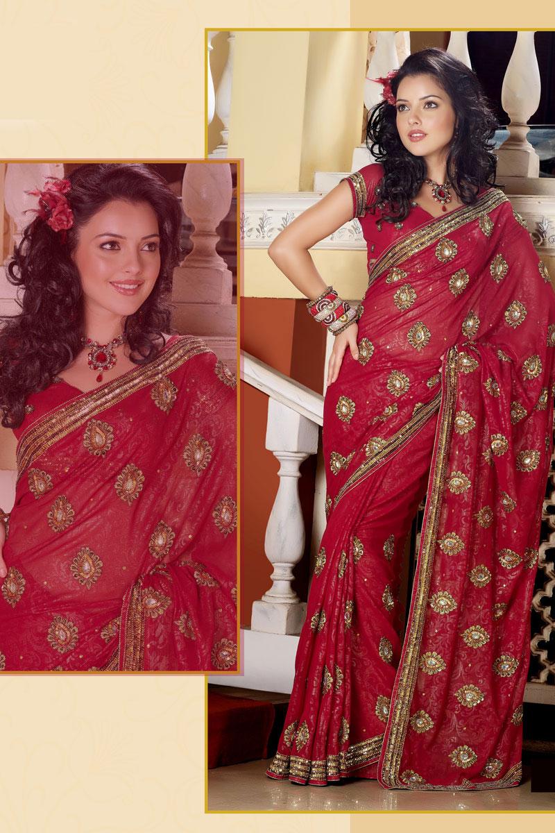 Latest Designer Saree with Half Sleeve Saree Blouse Designs