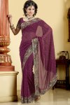Newly Arrived Designer Saree in Violet Color