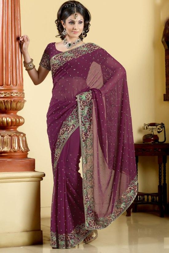 Newly Arrived Designer Saree in Violet Color