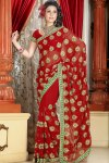 Designer Saree with Floral Embroidery Work