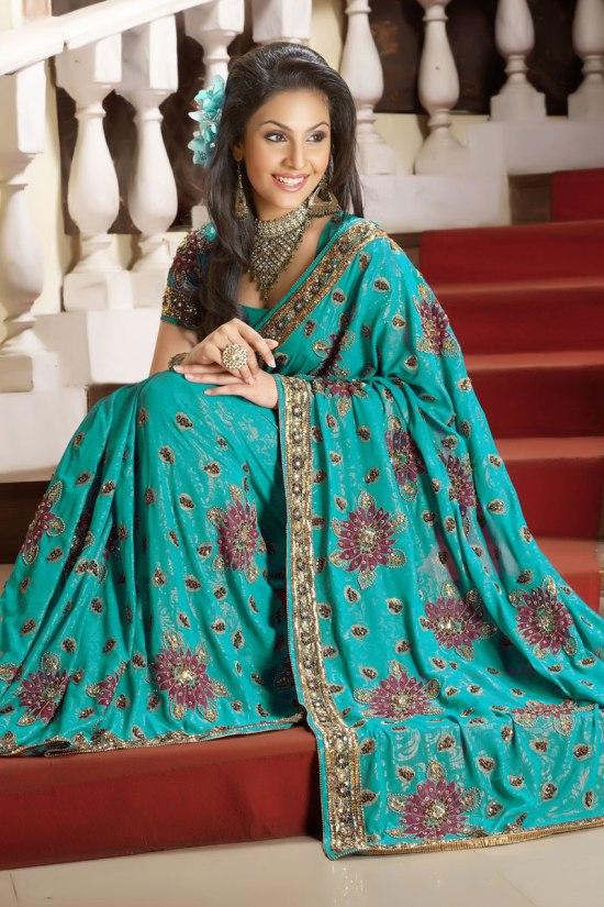 Designer Saree in Robin Blue Color