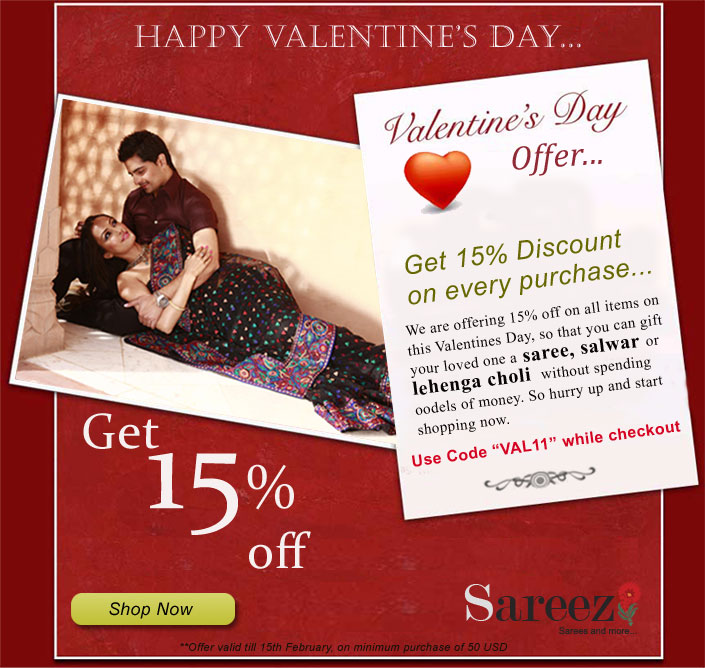 15% discount on sarees, salwar kameez and lehenga cholis