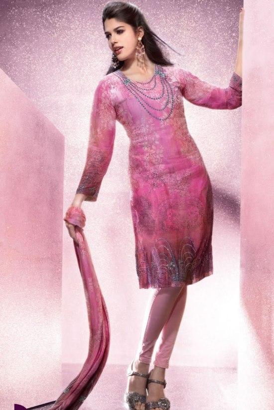 Wedding Churidar Salwar Kameez in Pink Color