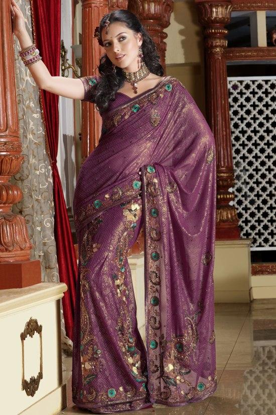 Lehenga Style Saree in Purple color