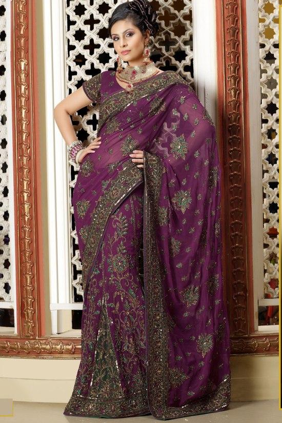 Latest Lehenga Style Saree in Deep Purple Color