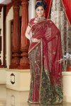 Newly Arrived Lehenga Style Saree in Red and Green Color