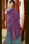 Lahenga Style Saree in Violet Color for the year 2011