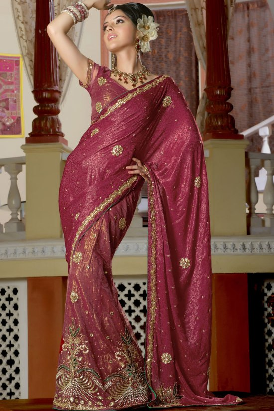 Lahenga Style Saree in Ruby Red Color