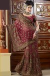 Lahenga Style Saree in Cerise Pink Color