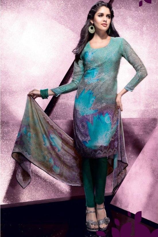 Sky Blue Churidar Salwar Kameez 2011