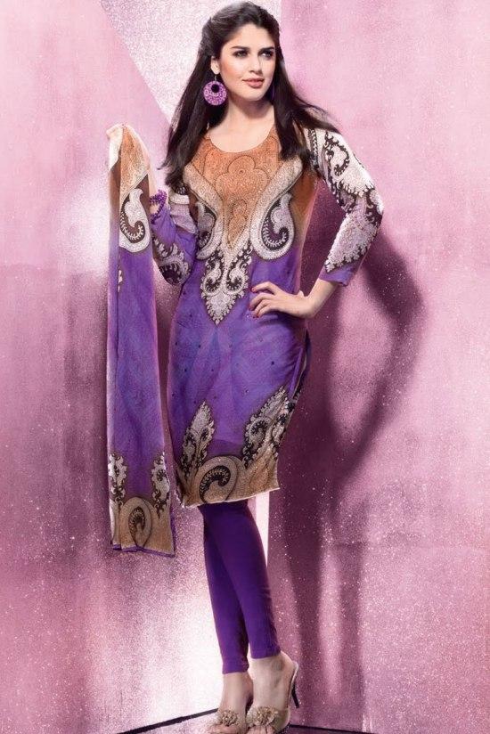 Purple Churidar Salwar Kameez for the Party Wear