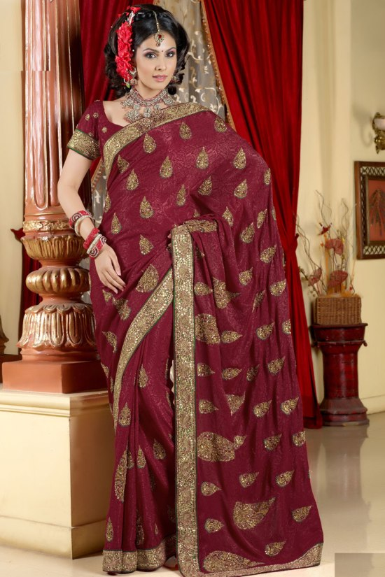 Deep Red Traditional Saree Collection 2011