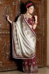 White and Red Designer Saree for wedding celebration