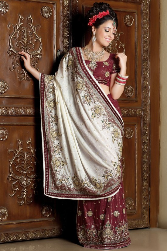 White and Red Designer Saree for wedding celebration