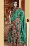Green Embroidered Traditional Sarees Collection 2011