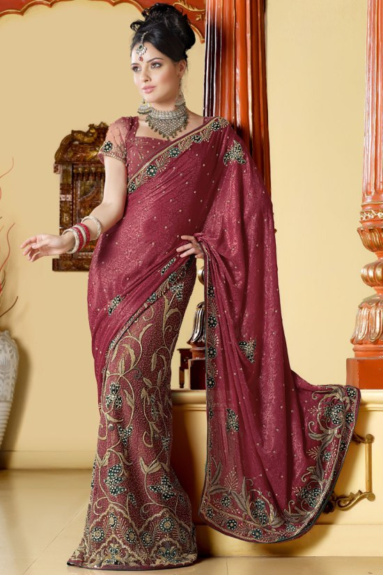 Red Designer Sarees with Matching Saree Blouse Designs