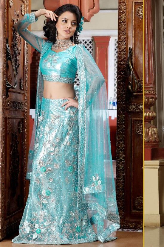 Sky Blue Wedding Lehenga Choli 2011