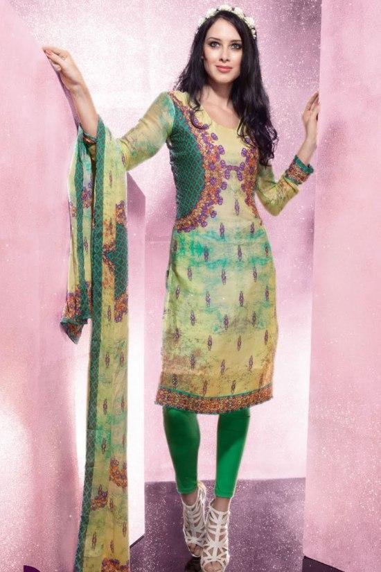Designer Churidar Salwar in Yellow and Green color