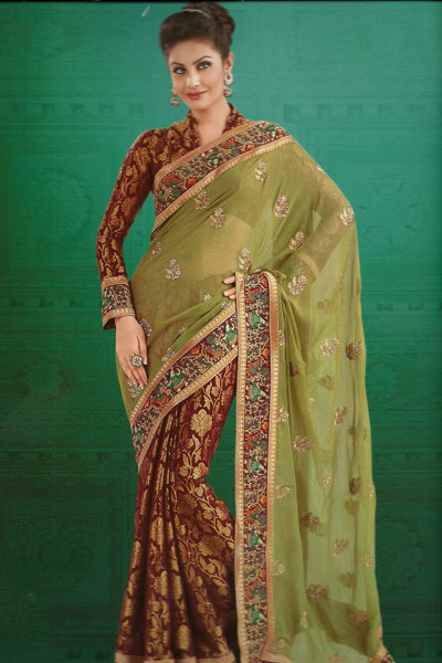 Latest Embroidered Party Saree For The Year 2011
