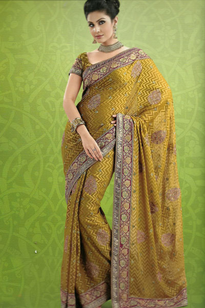 Embroidered Traditional Saree Latest Collection 2011