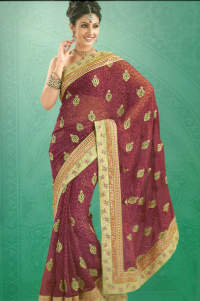 Latest Collection Embroidered Traditional Saree For The Year 2011