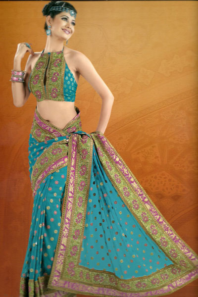 Newly Arrived Embroidered Saree For The Year 2011