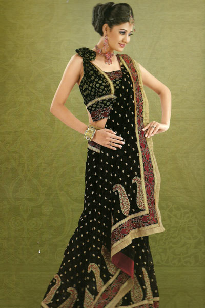 Latest Collection Embroidered Saree For The Year 2011