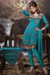Blue Embroidered Festival Churidar Kameez