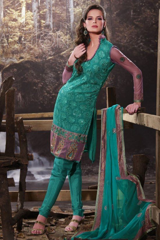 Teal Full Sleeves Churidar Salwar Kameez Collection