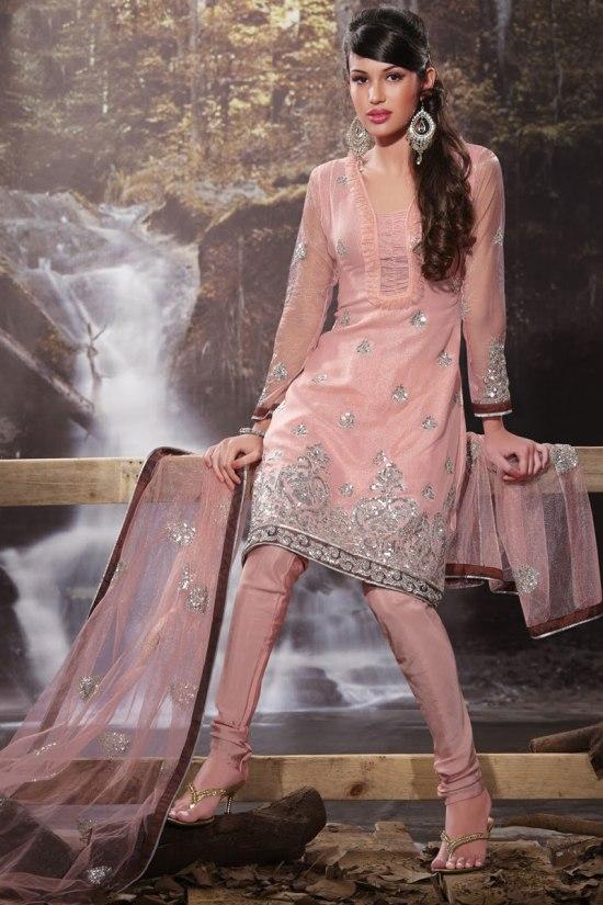 Light Pink Designer Churidar Salwar Kameez Collection