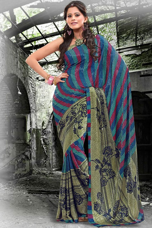 Floral Printed Party Saree