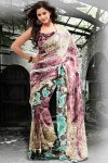 Abstract Printed Party Sarees 2011