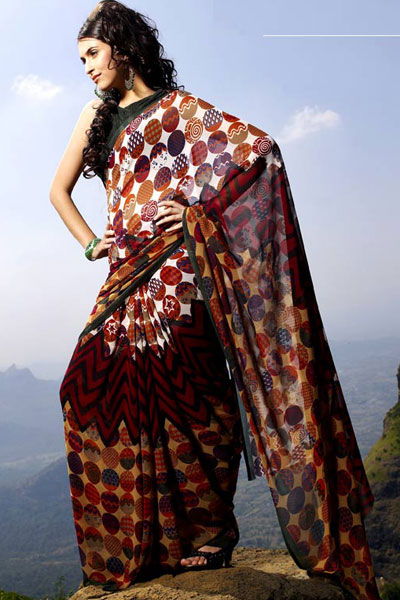 Designer Printed Party Saree