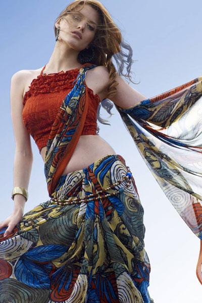 Designer Abstract Printed saree