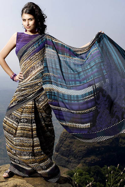 Purple Printed Casual Wear Sarees 2011