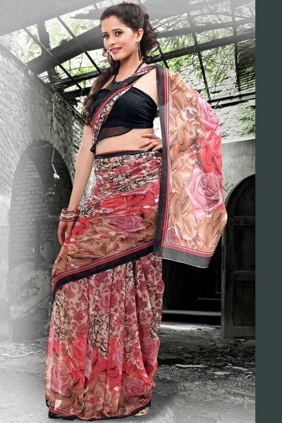 Printed Designer Party Saree 2011 Collection