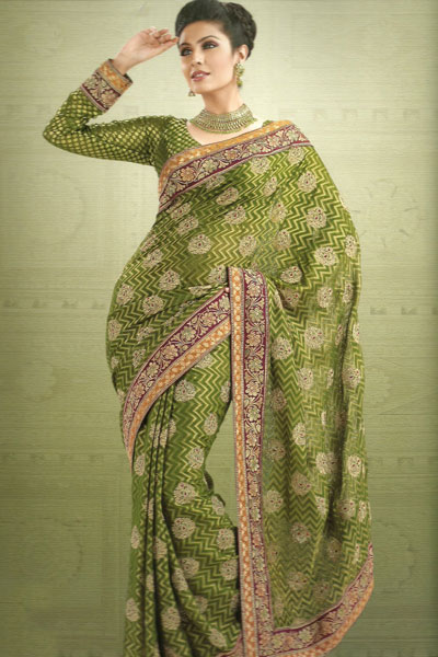 Embroidered Traditional Saree For The Year 2011