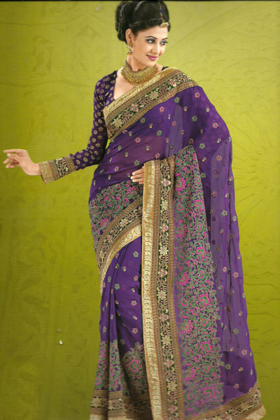 Embroidered Traditional Saree With Matching Saree Blouse