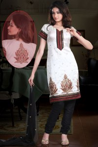 Embroidered White Party Churidar Kameez