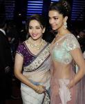 Deepika Padukone and Madhuri Dixit in Sarees at 57th Filmfare Awards 2012