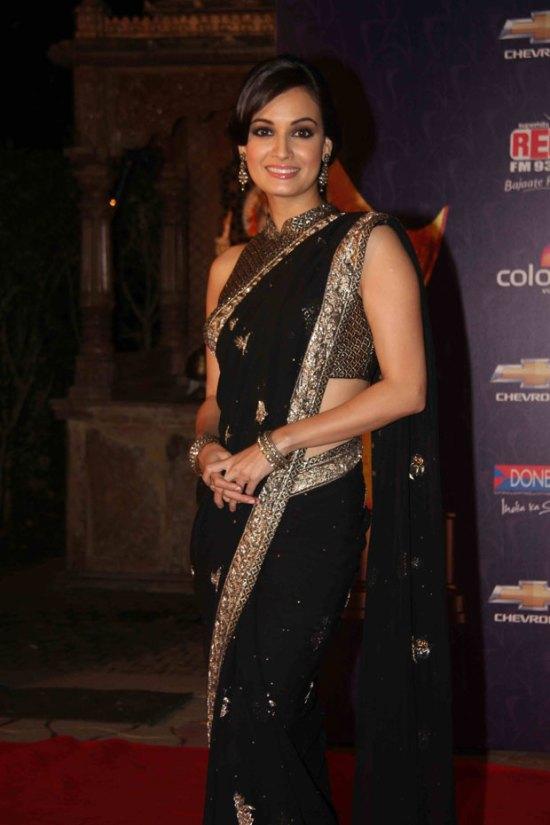 diya mirzain black saree and silver border at apsara awards 2012
