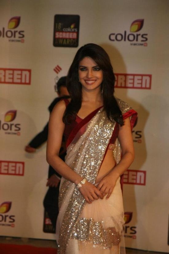 priyanka chopra in saree at colors screen awards