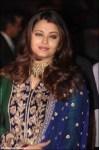 aishwarya rai in a deep blue anarkali salwar kameez at ritesh genelia wedding reception party