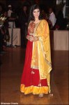 ayesha takia in a long red anarkali salwar kameez