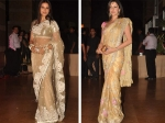 bipasa and aditi in light color indian saree at ritesh genelia wedding reception party